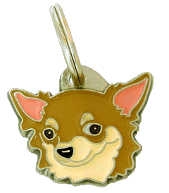 CHIHUAHUA LONG HAIRED CREAM - pet ID tag, dog ID tags, pet tags, personalized pet tags MjavHov - engraved pet tags online